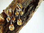 Orecchini civetta pietra stoffa - orecchini gufo diaspro - orecchini pietre naturali - gioielli frida - gioielli boho - orecchini a mano