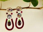 Orecchini melanzane agata rossa stoffa - orecchini cibo verdura - orecchini pietre naturali - gioielli frutta boho - orecchini fatti a mano