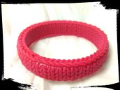 Bracciale finta lana rosa