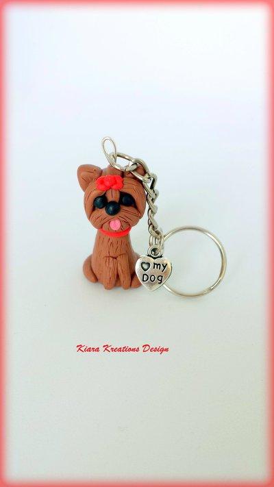 Portachiavi in fimo Yorkshire, miniatura yorkshire, regalo compleanno, regalo yorkshire, regalo cane, appassionati di cani, gioielli animali