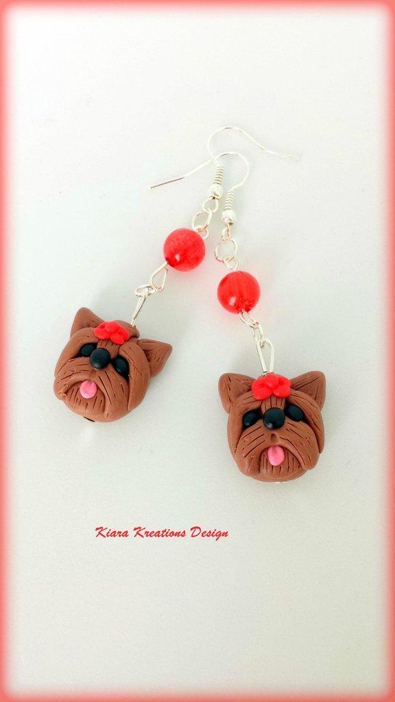 Orecchini in fimo Yorkshire, miniatura yorkshire, regalo compleanno, regalo yorkshire, regalo cane, appassionati di cani, gioielli animali