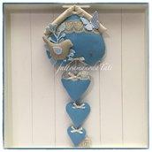 Fiocco nascita casetta in cotone color ceruleo con uccellino,farfalla e tre cuori sui toni cerulei beige