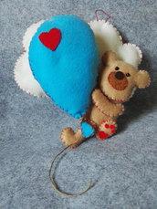 Orsetto con palloncino, fiocco nascita, fuoriporta