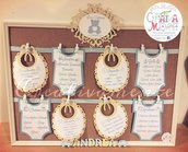Tableau mariage battesimo shabby-country chic