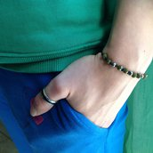 Bracialetto perline verde militare 4mm