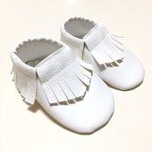MOCASSINI in simil pelle bianca per neonati/e e bambini/e