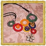 """collier fatto all'uncinetto in cotone , metallo e prele """" Granada"""""""