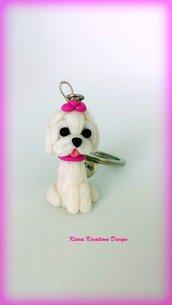 Portachiavi Maltese in fimo, miniatura maltese, regalo compleanno, regalo maltese, regalo cane, appassionati di cani, gioielli animali