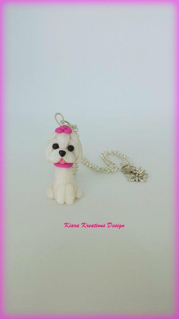 Collana Maltese in fimo, miniatura maltese, regalo compleanno, regalo maltese, regalo cane, appassionati di cani, gioielli animali