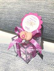 Bomboniera Battesimo o Nascita Scatola in plexiglass con PIEDINI in fimo personalizzabili + confetti+ tag!!