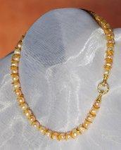 Collana di perle d'acqua dolce con argento indiano (GC69)