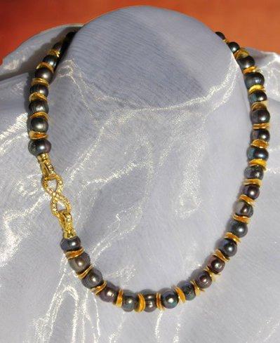 Collana di perle d'acqua dolce con argento indiano (GC60)