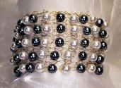Bracciale a fascia lavorato a maglia con perle (BR20)