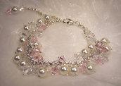 Bracciale con perle bianche e cristalli sfaccettati bianchi e rosa (BR27)