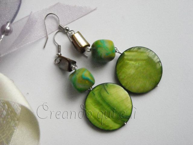 Orecchini Madreperla Verde