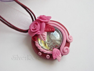 Ciondolo Goccia di vetro Rose