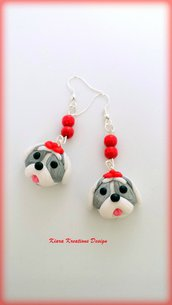 Orecchini Shih Tzu in fimo, miniatura shih tzu, regalo compleanno, regalo shih tzu, regalo cane, appassionati di cani, gioielli animali