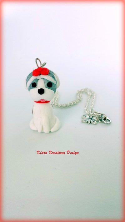 Collana Shih Tzu in fimo, miniatura shih tzu, regalo compleanno, regalo shih tzu, regalo cane, appassionati di cani, gioielli animali