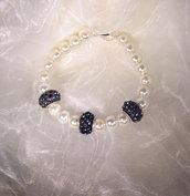 Bracciale di perle con boule in cristallo ametista (BR02)