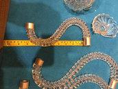Braccio, ricambio per lampadari di Venini, Mazzega, Artemide, Vistosi, con pezzi rotti, in vetro soffiato di Murano, color cristallo trasparente
