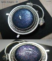 SPILLA SVEGLIA 1 - cabochon glitter blu e rosa