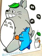 Quadro su tela dipinto a mano tema Totoro e i Nerini del buio.