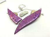 Collana da donna, collana in fimo, regalo festa della mamma regalo per fidanzata, moglie, amica, regalo unico per anniversario, viola e rosa