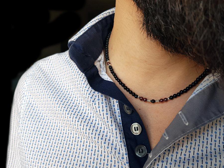 Collana artigianale uomo Onice Nero Granato e Argento, realizzato a mano in Italia, idea regali per lui