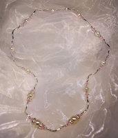 Collana  barrette ritorte intercalate da perle e cristalli sfaccettati rosa (GC03)