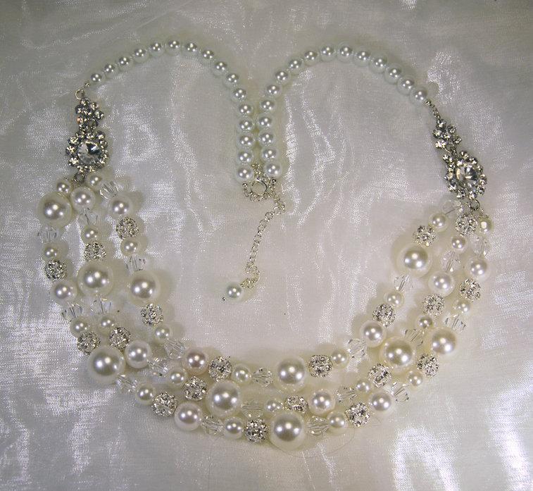 Collana da sposa in perle, cristalli, ed elementi in strass (GC09)