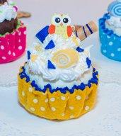 Cupcake decorativo mod. gufetto, altezza 9 cm - diametro 6.5 cm