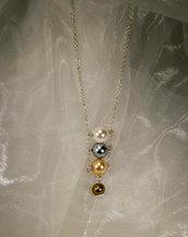 Girocollo catena placcata argento con perle di 4 colori (GC17)