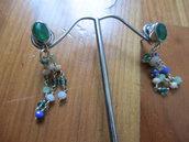 orecchini argento rodiato e giada verde