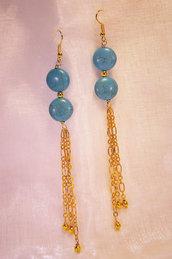 """Orecchini lunghi dorati con """"pastiglie"""" color turchese (OR01)"""