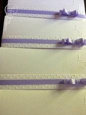 Partecipazione modello pochette con nastro e fiocco