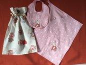 Set stoffa bambina per scuola materna composto da Sacca /zainetto + bavaglino +asciugamano