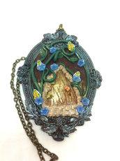collana con porta fatata o portale delle fate, cammeo in resina, fatto a mano,regalo unico, aook,collana in fimo , regalo ragazza