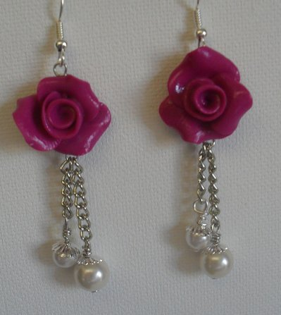 orecchini rose viola