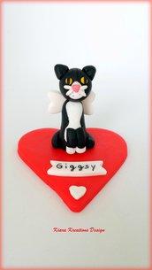 Decorazione ricordo gatto, Gatto angelo su cuore, fimo, miniatura gatto, personalizzabile con la razza e il nome del gatto, ponte arcobaleno