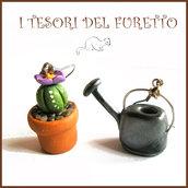 """Orecchini Pollice verde  Pianta grassa """" cactus fiore viola o e annaffiatoio """" giardinaggio pianta grassa primavera estate  idea regalo fimo cernit premo"""