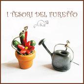 """Orecchini Pollice verde  Pianta grassa """" cactus fiore rosso  o e annaffiatoio """" giardinaggio pianta grassa primavera  idea regalo fimo cernit premo"""