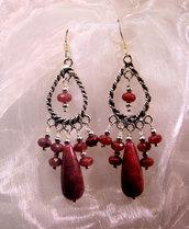 Orecchini etnici in argento indiano e agate rosse (OR27)