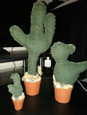 tris piante grasse in stoffa