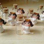 Bomboniera angelo bimba con bottiglia vetro in fimo confettata comunione battesimo nascita