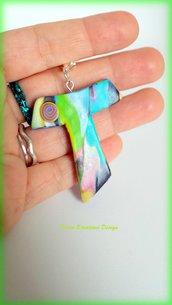 Bomboniere per Battesimo, Comunione e Cresima in fimo handmade Croce tau con murrine multicolore, bomboniere colorate, bomboniere croci