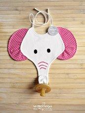 Bavaglino Elefante con portaciuccio - Fucsia