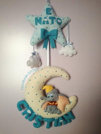 Fiocco nascita sogni d'oro, stella con luna e Dumbo con Handmade KriTiLo