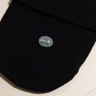 Pietra cristallo boom sasso liscio azzurro 25x18mm