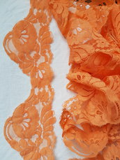 Pizzo vintage arancione alto 9 cm 3 metri ,materiali cucito,bordura in pizzo