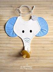 Bavaglino Elefante con portaciuccio - Turchese